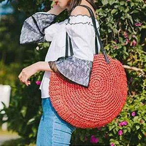 Women's bag Rattan circle straw shoulder red bag